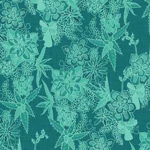SUCCULENT- agave / teal linen