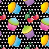 Cupcakes & Cherries - Black