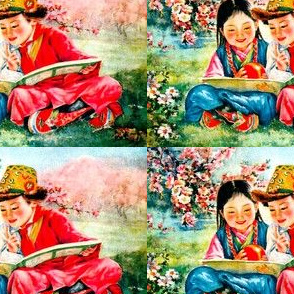 asian china chinese oriental chinoiserie traditional costumes children boys girls tribal tribe grasslands fields trees flowers minorities