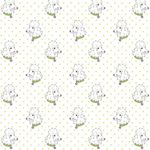 Fancy Poodle with lime green polka dots
