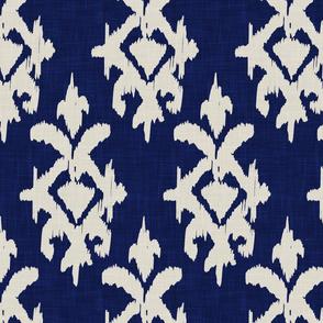 IKAT- gray + navy linen