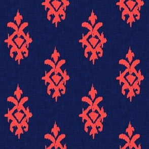 SIMPLE IKAT - coral + navy linen