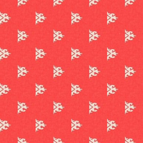FLAMING ARROWHEAD - mini ikat - fiery coral