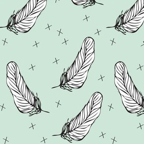 minty white feather by elvelyckan