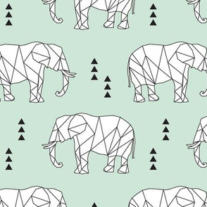 Geometric Elephant // mint
