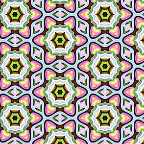 Pink and Green Flower Pattern Geometric