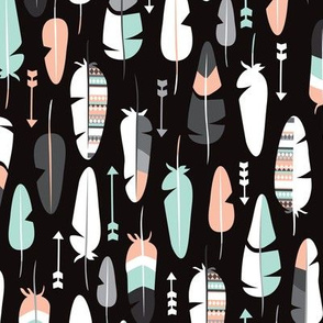geometric vintage feathers pastel arrows in mint and coral illustration pattern in black