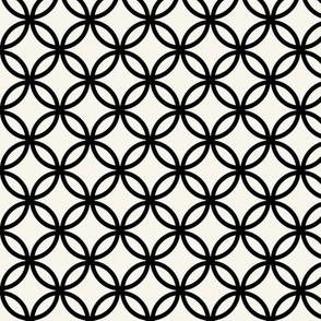 Fretwork circles, black on off-white