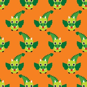 Cute little dragon fantasy dinosaur kids illustration in orange and green
