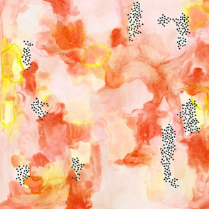 hand-painted watercolor abstract // coral + yellow // small