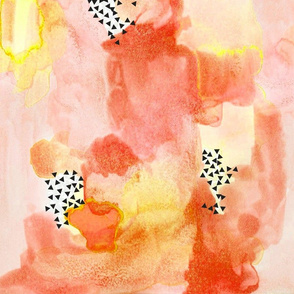 hand-painted watercolor abstract // coral + yellow