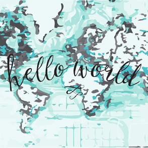 Hello World Baby Blanket or Swaddle // black + aqua