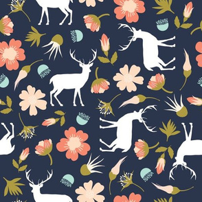 stag in flowers // navy