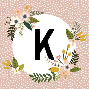 Blush Sprigs and Blooms Monogram Lovey // K