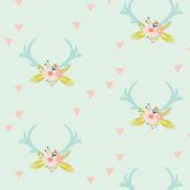 aqua floral antlers // on soft mint