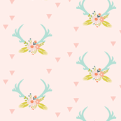 aqua floral antlers // on soft pink