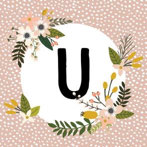 Blush Sprigs and Blooms Monogram Lovey // U