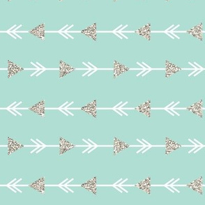 aqua climbing arrows + silver glitter // small // horizontal