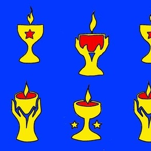 4 chalices on blue