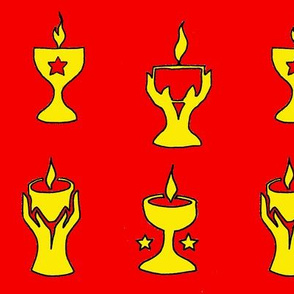 4 chalices on red