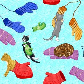 Four_kittens_and_their_mittens_aqua_texture_2_half_drop