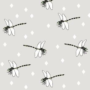 Dragonflies grey by MiaMea