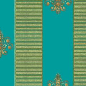 gold and turquoise fleur de lis 2 inch stripe
