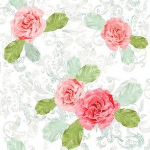 Vintage Watercolor Roses and Damask