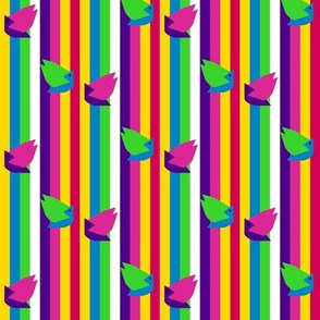 Birdies on Bubbly Gumdrop Stripes