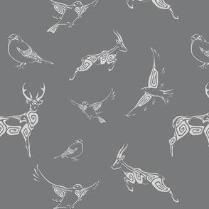 Swirl Animals - greyscale