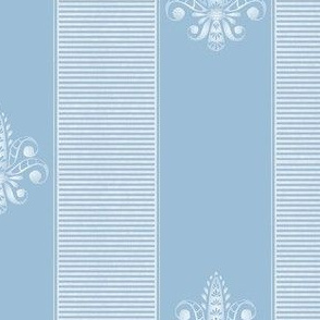 french blue and white fleur de lis 2 inch stripe