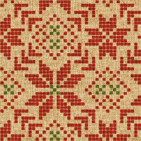 holiday fair isle in christmas burlap fabric