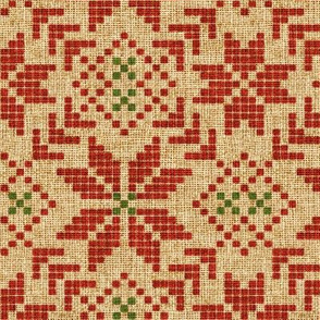Holiday Fair Isle in Christmas Burlap