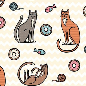 Cats and Donuts Zig Zag