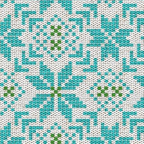 Fair Isle in Aqua and Green