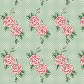Rose and Polkadot in mint