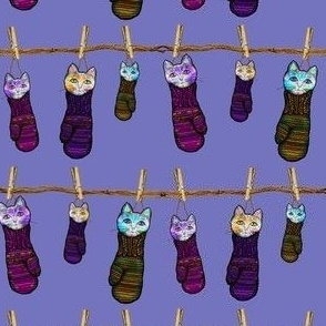 KITTENS IN MITTENS LAUNDRY LILAC BLUE