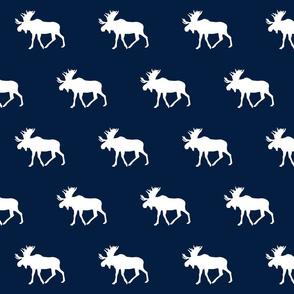 Moose // white on navy