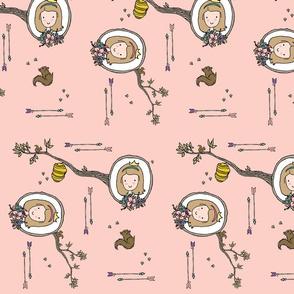 Peach Woodland Princess Cameo