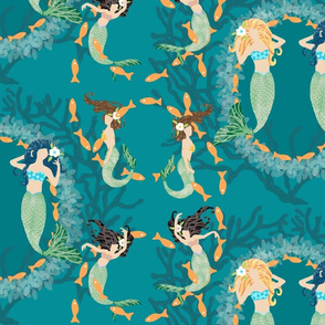 Playful Mermaids with Fish & Coral