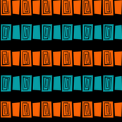 Mid Century Modern Maze 2 Teal and Orange on Black