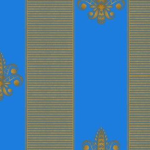gold_and_bright blue_fleur_de_lis_2_inch_stripe