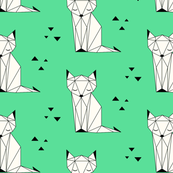 Sleepy Fox Green Background