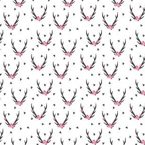 Antlers - Black and White with Flowers (Tiny Version)  by Andrea Lauren