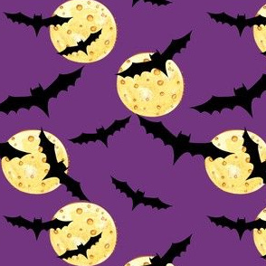 Cute Halloween Bats & Moons