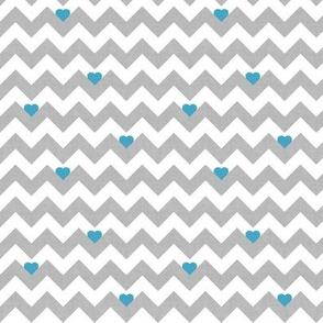 heart & chevron - grey/blue canvas - mini