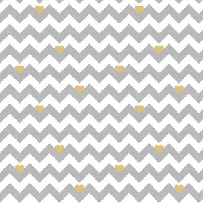 heart & chevron - grey/yellow canvas - mini