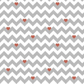 heart & chevron - grey/red canvas - mini