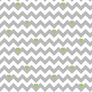 heart & chevron - grey/green canvas - mini