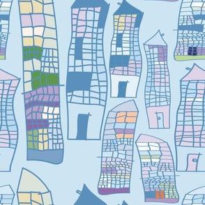 Skyscrapers blue